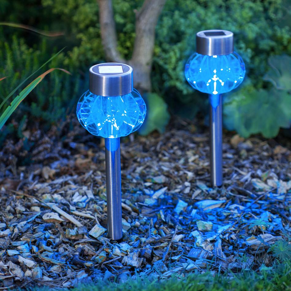 blue solar garden lights