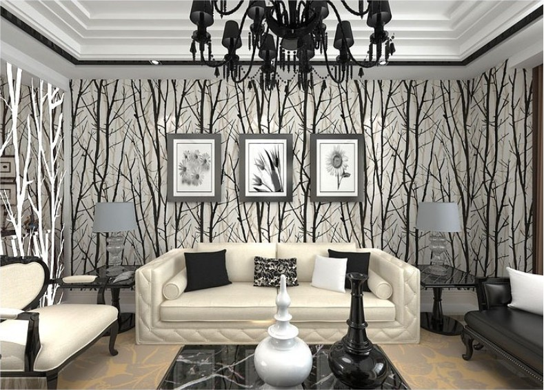 contemporary wallpaper living room