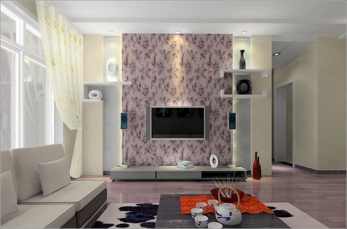 Wallpapers for living room design ideas in uk for Red wallpaper designs for living room