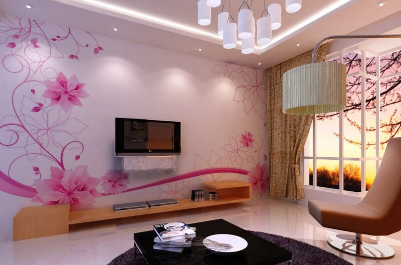 Purple Wallpaper Feature Wall. Stunning Wallpapers For Living Room Part 83