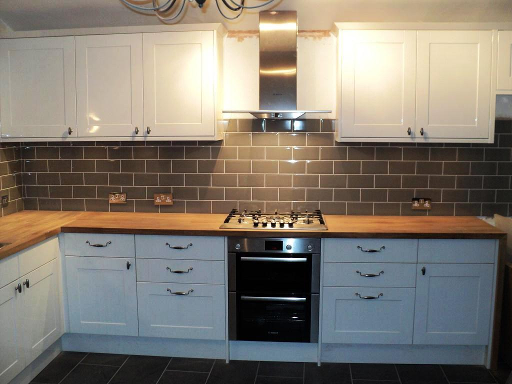 White Glass Tiles Kitchen Wall