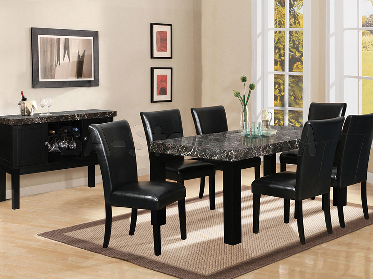 Dining room table and chairs ideas with images - Black dining room tables ...