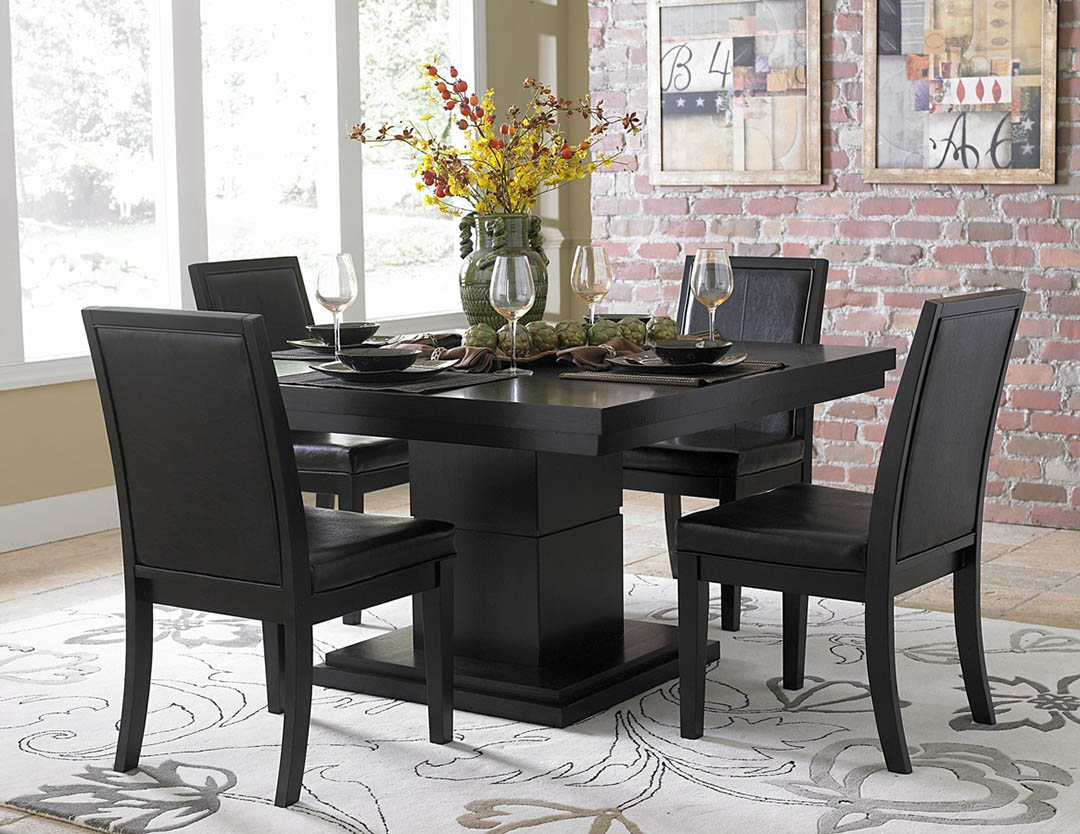 Dining room table and chairs ideas with images for Black dining table