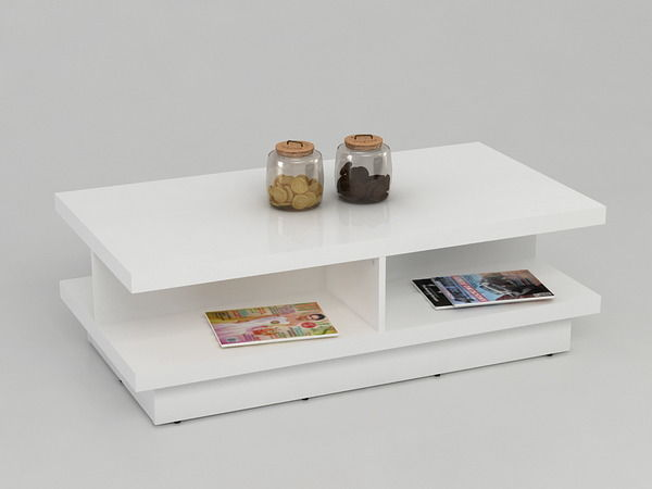 high gloss white coffee table with drawers