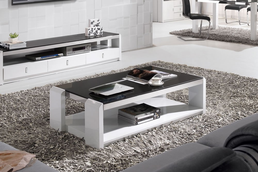 White high gloss coffee table with storage ideas Black and white coffee table