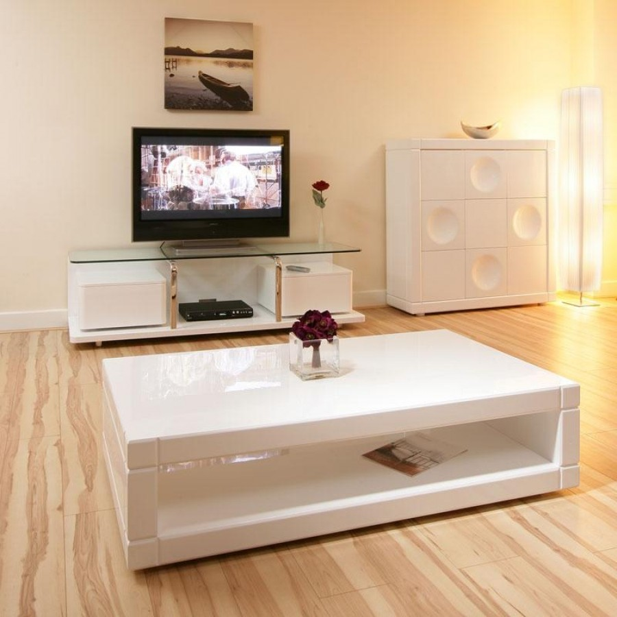 white gloss coffee table with storage ideas