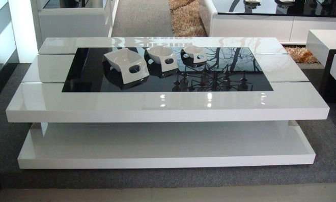 Charming ... White High Gloss Coffee Table With Storage Ideas