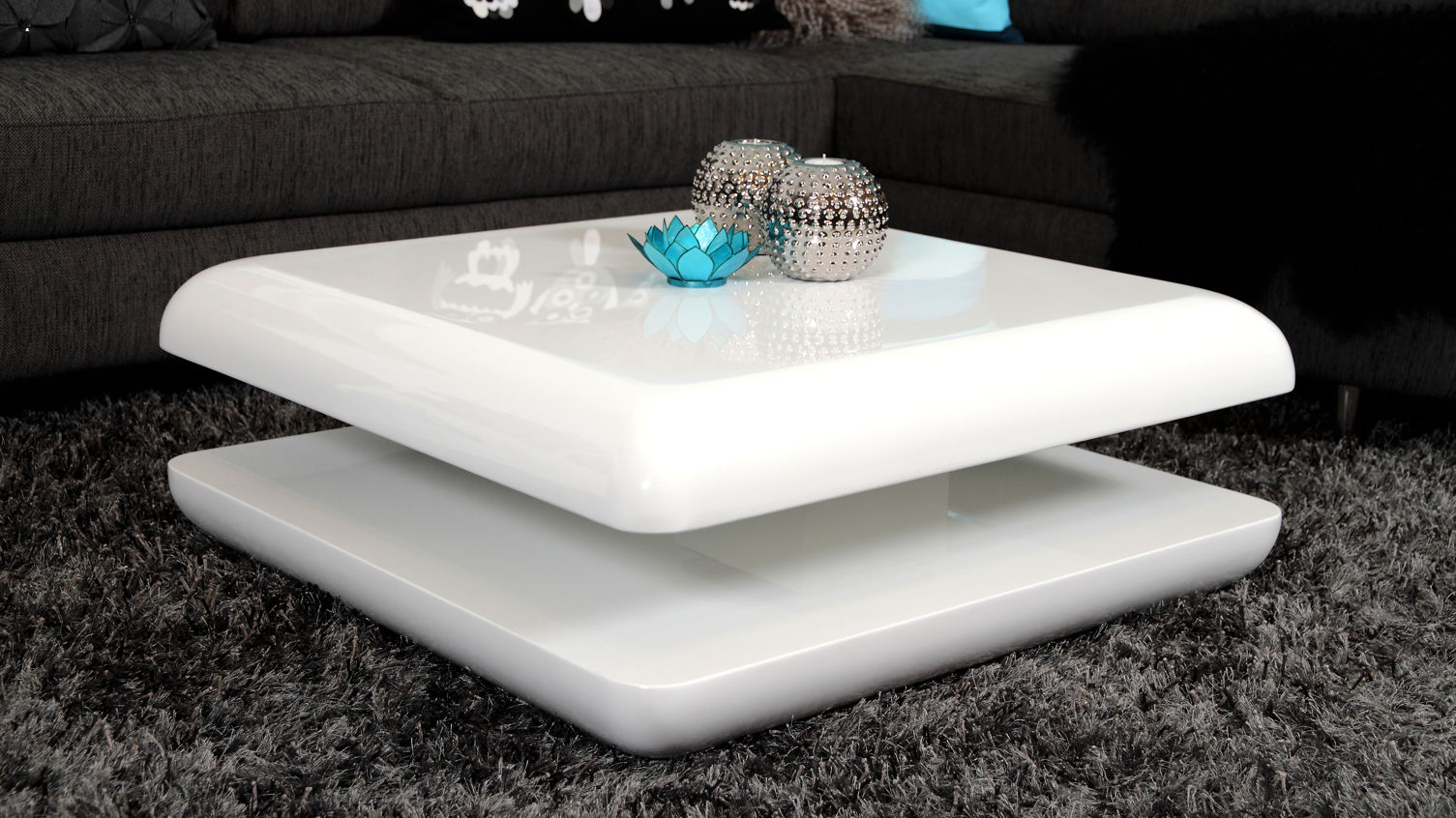 white high gloss round coffee table