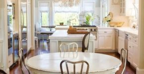 Shabby-chic-dining-room-with-white-oval-table