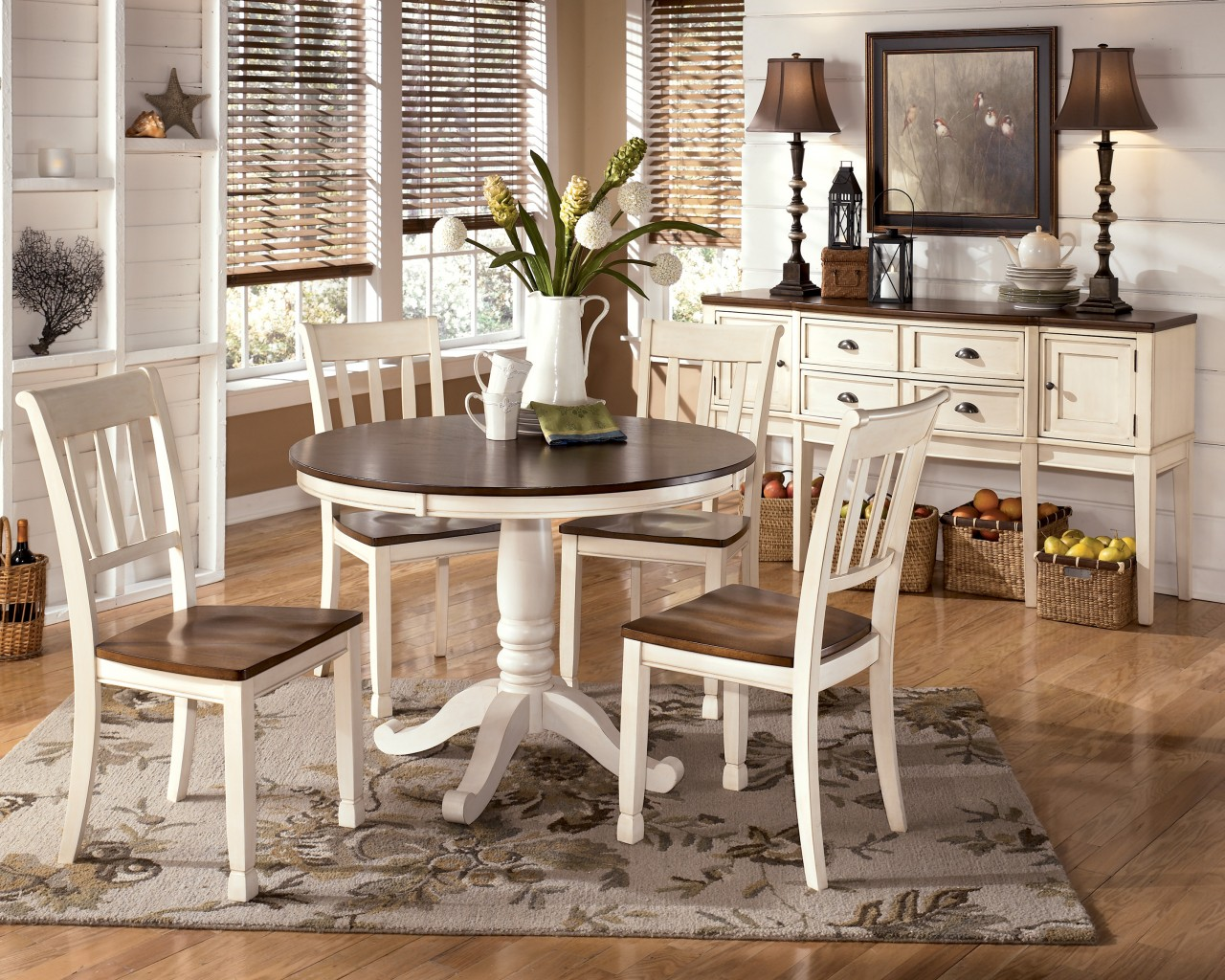 Off White Dining Table Ashley Set Diy Shabby Chic And Chairs