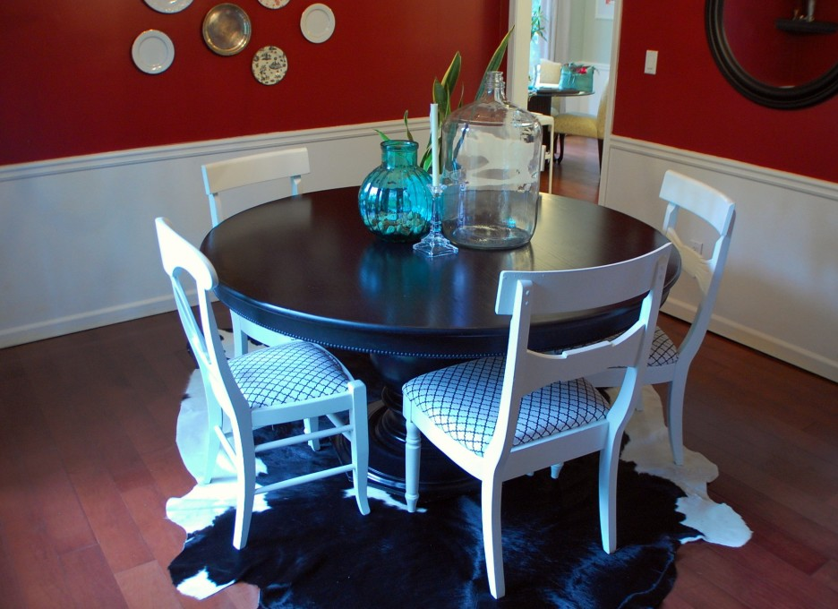 shabby chic dining room chair covers | Top 50 Shabby Chic Round Dining Table and Chairs - Home ...