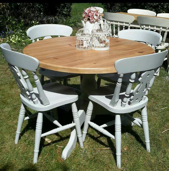 Cheap Dining Table And Chairs: Top 50 Shabby Chic Round Dining Table And Chairs