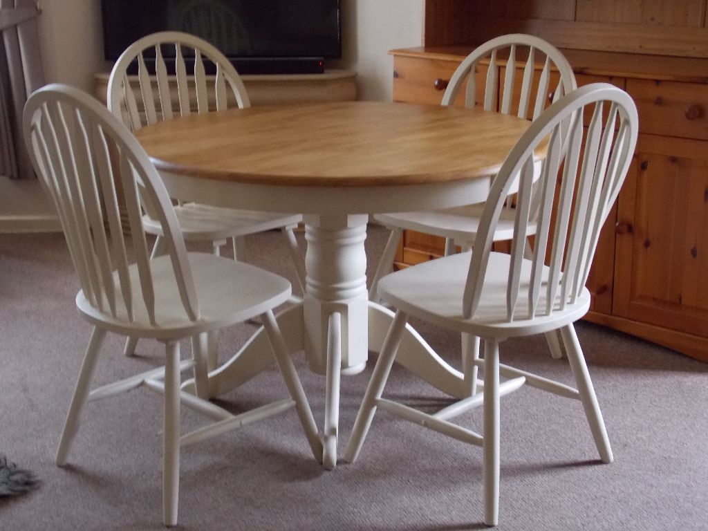 Top 50 shabby chic round dining table and chairs home Home decor dining table