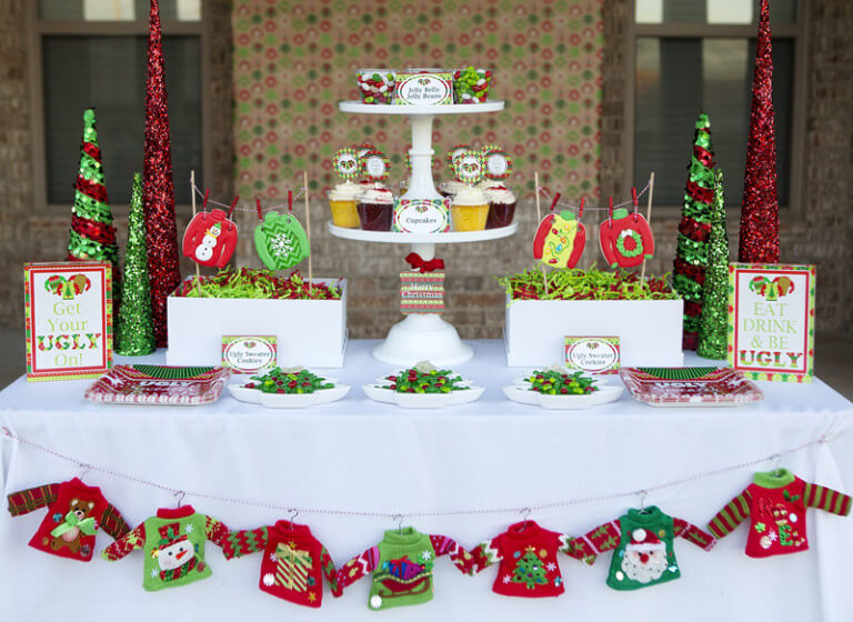Ugly Sweater Christmas Party table decor ideas