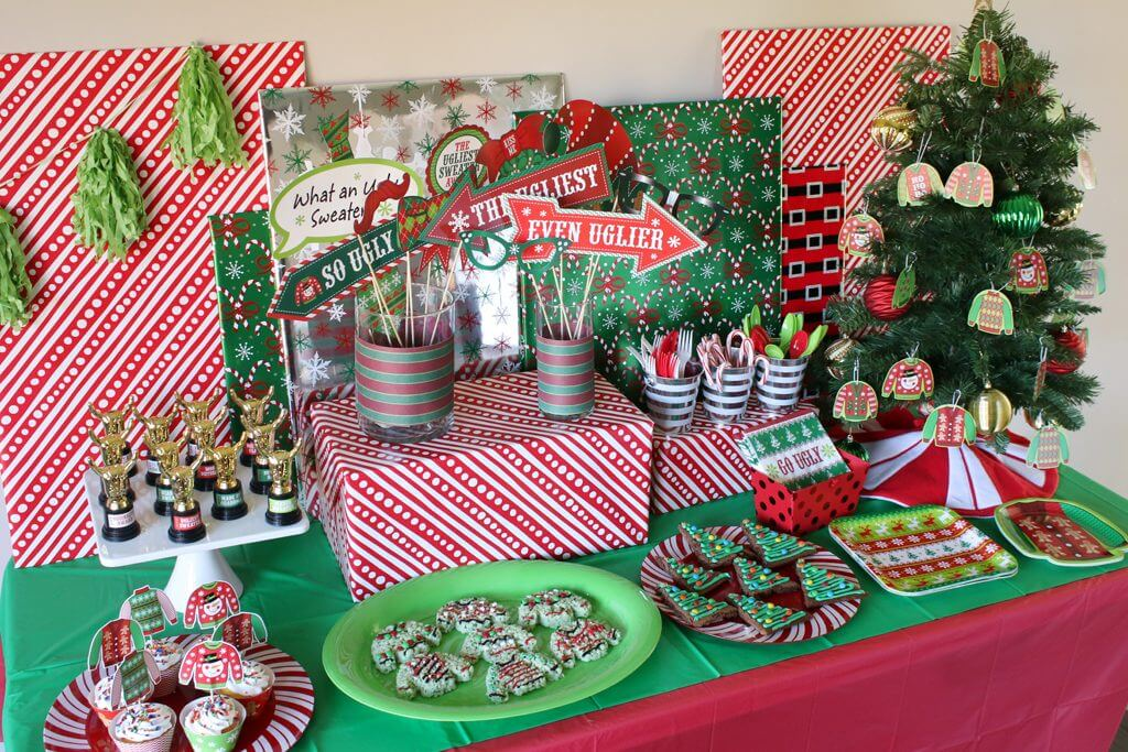 Ugly Sweater Party Decorations Dessert Table
