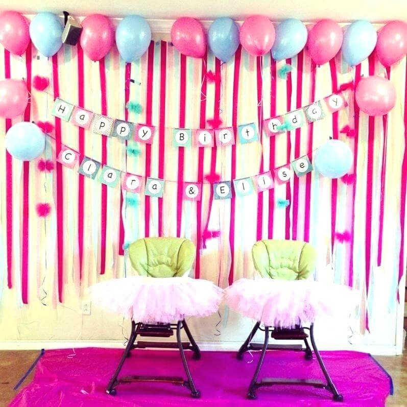 birthday decoration at home with balloons