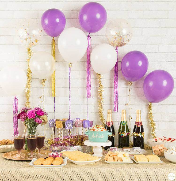 purple and gold new year party ideas