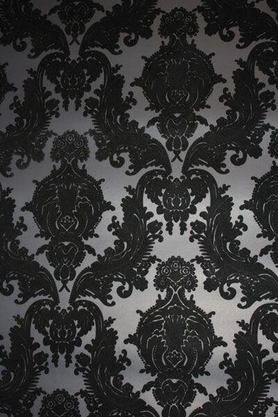 white flocked wallpaper